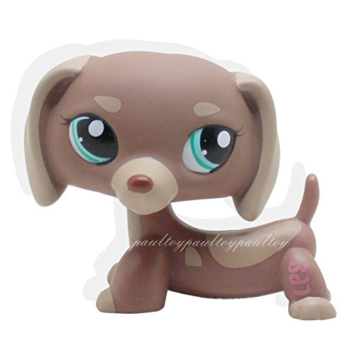 LHJ Rare Littlest Pet Shop Mocha Tan Brown Dachshund Dog Green Eyes Toys LPS #1751