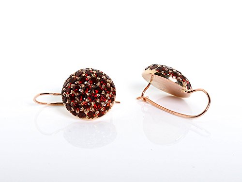 (Handmade 14K Rose Gold Round Pave Garnet Earrings)