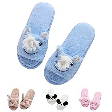 Unicorn Open Toe Slippers Animal Bunny Cute Cozy Fleece Cartoon Indoor Home Women Blue Unicorn US Size: 5-6