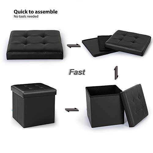 home, kitchen, furniture, accent furniture,  ottomans 11 picture B FSOBEIIALEO Folding Storage Ottoman Footrest Stool Faux in USA
