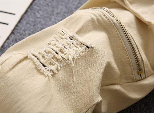 Strappati Alla Vintage Ragazzo Casual Da Denim Il Uomo Kaki Jeans Per Knee Skinny Hat Closure Pants Moda dBASvdwqUx