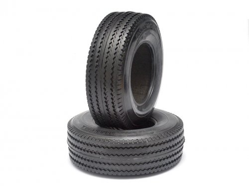 Boom Racing #BRQ25421 Rubber Tire For Tractor Truck Wide Version (2) for Tamiya 1/14 Truck (1838LS)