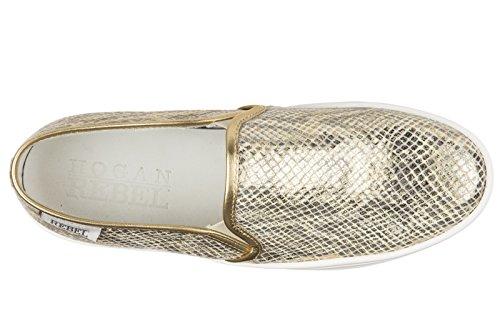 Hogan Rebel slip on donna in pelle sneakers nuove originali oro