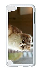 Ipod 5 Case,MOKSHOP Adorable cat hd Hard Case Protective Shell Cell Phone Cover For Ipod 5 - PC White