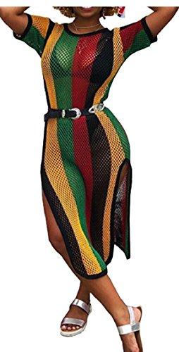 Jaycargogo Des Femmes De Côté Sexy Tulle Transparent Court Manchon Fendu Clubwear Moulante Longue Robe 1