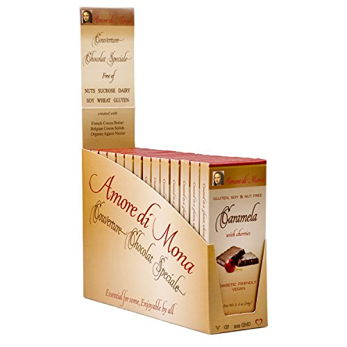 Caramela w/Cherries - Case of 14, 2.5oz Bars. Vegan, Organic, Non-GMO. Free of Gluten, Soy, Dairy, Peanuts, Tree Nuts, Sesame, Corn, Egg, & Other Common Allergens. Low Glycemic