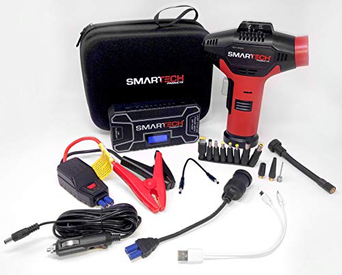 - Smartech Power Kit Portable Jump Starter Power Bank Air Pump Tire inflator Air Compressor