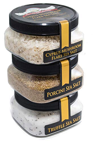 Mushroom Lover's Sea Salt 3-Pack: Truffle, Porcini, Cyprus Mushroom Flake - All Natural, Delicous Blends of Sea Salt and Pure, Dried Mushrooms - Kosher, Gluten-Free, No MSG, Non-GMO (12 total oz.)
