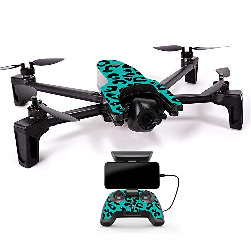 MightySkins Skin for Parrot Anafi Drone - Teal Leopard | Protective, Durable, and Unique Vinyl Decal wrap Cover | Easy to Apply, Remove, and Change Styles | Made in The USA