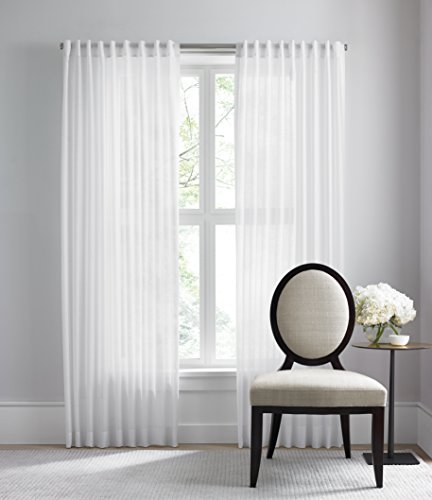 - Barbara Barry Dotted Sheer Curtain with Rod Pocket and Backtabs (50