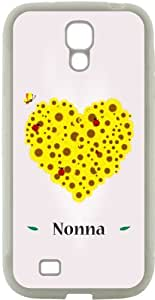 Rikki KnightTM Nonna Name Yellow Flowers Heart on Pink Background Design Samsung? Galaxy S4 Case Cover (White Hard Rubber TPU with Bumper Protection) for Samsung Galaxy S4 i9500