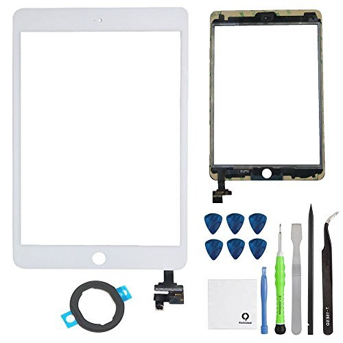 FixCracked Screen Replacement for iPad Mini 3, Front Glass/Digitizer Touch Panel with IC Chip Connector for iPad Mini 3 3rd A1599 A1600 (AT&T/T-Mobile/Sprint/Verizon) GSM CDMA Repair Kit White