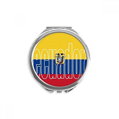 Ecuador Country Flag Name Mirror Round Portable Hand Pocket Makeup