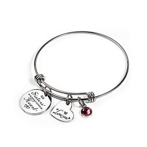Haoze Not Sisters by Blood But Sisters by Heart Bracelet Bracelets 12 Months Color Birthstone and Elegant Butterfly Love Pendant Bracelet Sister Jewelry -