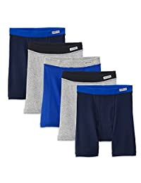 Fruit of the Loom Big Boy's 5-Pack Contrast Wb Covered Elastic Boxer Brief, Assorted, Large