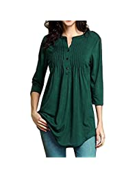 Women's Long Sleeve Shirts Solid Color Casual Blouse Tunic Tops Changeshopping