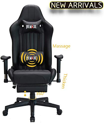 Large Size Computer Gaming Chair Ergomonic Racing Chair with Retractable Footrest,Execultive PU Leather Headrest Lumbar Massager Cushion Ergonomic Swivel PC Chair for Home (Black)