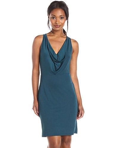 PU&PU Robe Aux femmes Gaine Sexy,Couleur Pleine Col en V Au dessus du genou Polyester / Autres , blue-s , blue-s