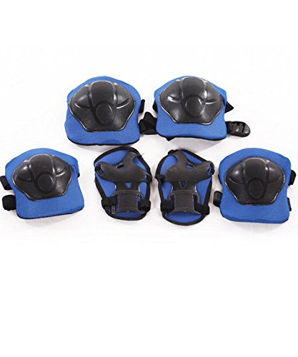 Skateboard Plastic Skate (Blue) With Protective Pads for Cycling 6-piece Set (Blue) - 6