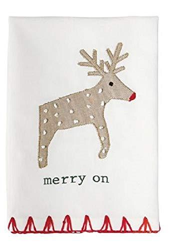 Mud Pie Merry On Reindeer Linen Holiday Tea Towel