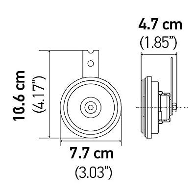 HELLA 011225802 Black 77mm 12V BX Disc Horn Kit (Universal Fit): Automotive