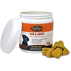 Premium Organic Turmeric for Dogs with Glucosamine, MSM, Chondroitin - Healthy Hip & Joints - Natural Anti-Inflammatory - Arthritis Pain Relief - Helps Mobility - 90 Count Soft Chew Treats - Made USA