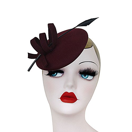 Ladies Curly Feather Felt Wool Fascinator Pillbox Tilt Cocktail Formal Hat A145 (Wine)