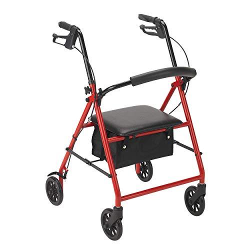 Dynarex Dynago Advantage Foldable Steel Rollator, Red