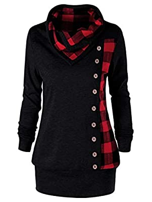 Rosegal Women Plus Size Cowl Neck Single Breasted Long Sleeves Plaid Sweatshirt