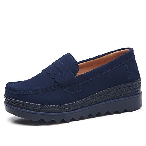 Loafers 4 Suède Casuel suo Foncé Femmes Confort Bleu Chaussures Z Mocassins nqw7C4fCR