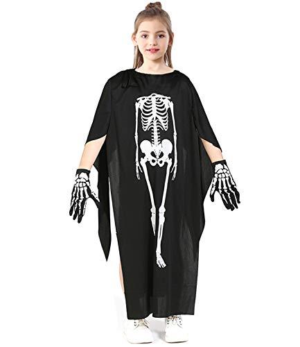 Halloween Costume Skeleton Bones Dress up Role Play Skeleton Tops Cape with Gloves