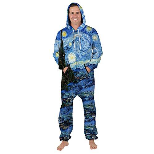 URVIP Unisex Family Sleepwear 3D Printed Jumpsuit Adult Nightwear Romper BES-006 L -