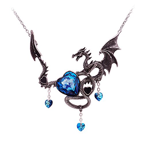 - Ginger Lyne Collection Dragon Pendant Large Blue with Chain Necklace
