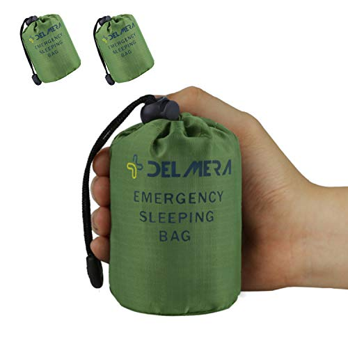 Delmera Emergency Survival Sleeping Bag, Lightweight Waterproof Thermal Emergency Blanket, Bivy Sack with Portable Drawstring Bag for Outdoor Adventure, Camping, Hiking, Orange (Green- 2 - Sack Space