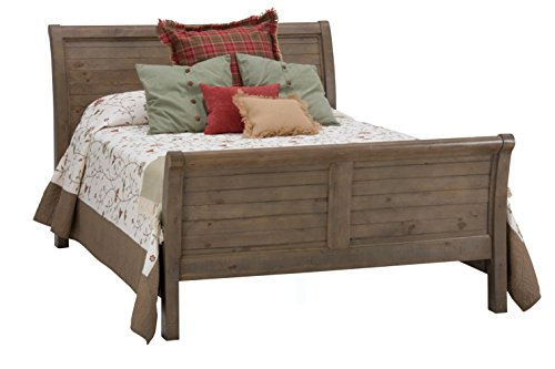 "Jofran: 943-858687KT, Slater Mill, Queen Sleigh Bed, 63""W X 84""D X 54""H, Medium Brown Pine Finish, (Set of 1) - Slater Mill Finish: Hand-finished medium brown pine, lightly distressed. Dimensions reflect Top and base together. Solid Reclaimed pine - bedroom-furniture, bed-frames, bedroom - 41ctaC4vZQL -"