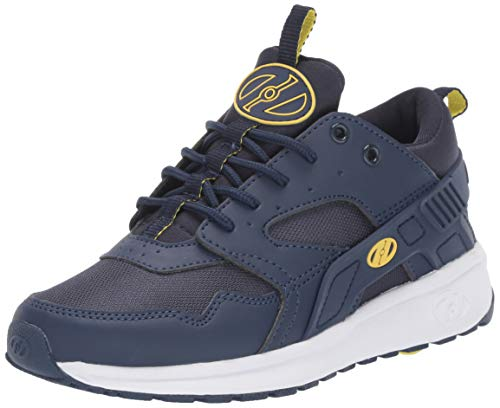 Heely S Skate Shoes - Heelys Boys' Force Tennis Shoe, Navy/Yellow, 2 M US Big Kid