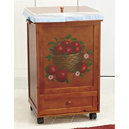 Apple Wooden Rolling Trash Bin Garbage Can With Storage