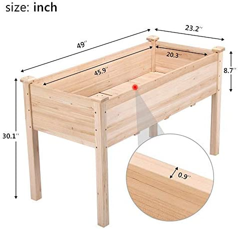 Yaheetech Wooden Raised Elevated Garden Bed Planter Box Kit for Vegetable Flower Herb Outdoor Gardening Natural Wood, 48.8 x 23 x 29.9in