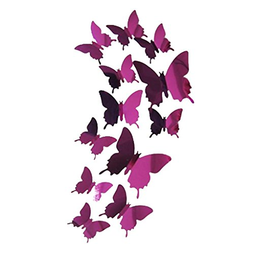 Clearance! Neartime Butterflies Wall Stickers Decal 3D Mirror Wall Art Bedroom Living Room Home Decor (❤️L:11CM; M:8CM; S:6.5CM, Hot Pink)