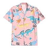 GDJGTA Shirts for Mens Creative Dinosaur Print Short Sleeve Funny Shirt Vacation Shirt Top Blouse