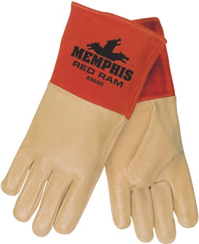 Mig Welder Glove Tig (MCR Safety 49600L Red Ram Premium Grade Grain Pigskin MIG/TIG Welder Gloves with 4-1/2-Inch Split Cow Gauntlet Cuff, Cream, Large, 1-Pair)