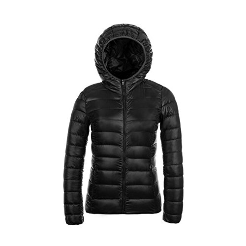 Ake Mujer Packable Hooded Winter Outwear Puffer Down Chaquetas Black