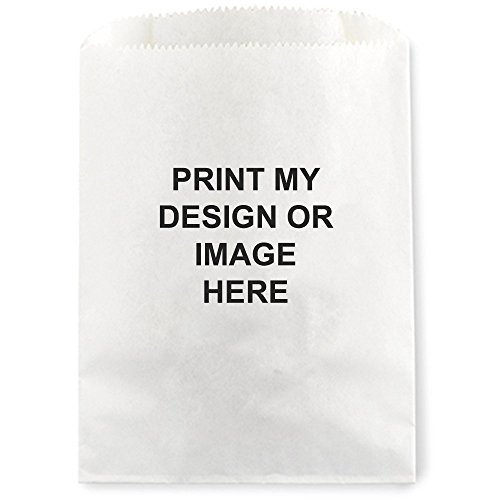 Print My Image Custom Favor Treat Bag for Candy Buffet - 50 Personalized White Cookie Bags 5 3/4 x 7 1/2