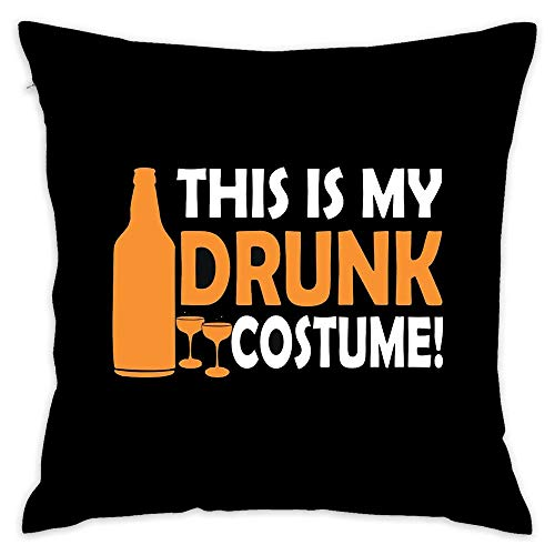 This is My Drunk Costume Halloween Cotton Square Throw Pillow Cover Cushion Case with Hidden Zipper for Home & Kitchen, 18x18 Inch (45x45Cm) -