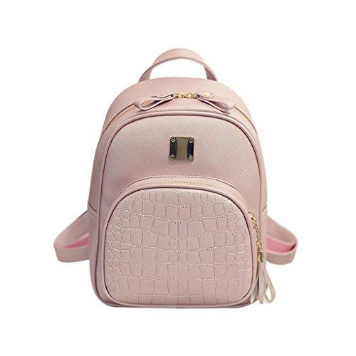 Bolsa de hombro Patrón de las mujeres chica cocodrilo Mochila PU pequeñas borlas Schoolbag Mujer Viajes Bagpack Mengonee Rosado