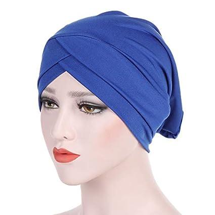 MoreChioce Femme Bonnet,Musulmane Turban Cotton Bambou Chapeaux Elastique Wrap Hijab Cap pour Chimio Yoga maquillage Chapeau Violet