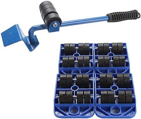 家具 移動/らくらくヘルパー/重い家具を動か | 5点セット|滑り止めハンドル|青|耐荷重150kg /輪
