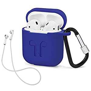 LIKDAY AirPods Case with Strap Protective Silicone Cover with Carabiner for Apple Airpods Accessories (Blue)