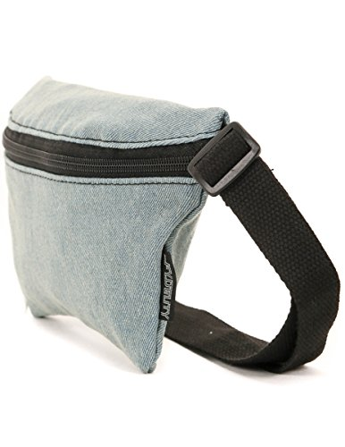 FYDELITY- Ultra-Slim Fanny Pack: DENIM Faded Glory| FUNKY FESTIVAL Classic -