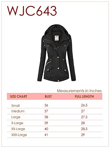 WJC643 Womens Pop Of Color Parka Jacket L Khaki by Lock and Love (Image #6)